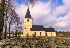 Sweden - April 1, 2017: Lone church in rural Sweden Stock Image