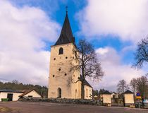 Sweden - April 1, 2017: Lone church in rural Sweden Stock Photography