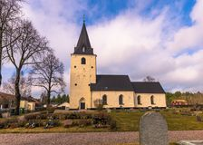 Sweden - April 1, 2017: Lone church in rural Sweden Royalty Free Stock Photos