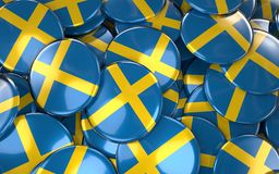 Sweden Badges Background - Pile of Swedish Flag Buttons. Royalty Free Stock Photography