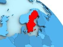 Sweden on blue globe. Sweden highlighted on blue 3D model of political globe. 3D illustration Royalty Free Stock Photos