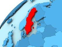 Sweden on blue globe. Sweden in red on blue model of political globe. 3D illustration Royalty Free Stock Photos