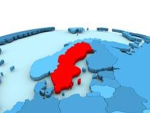 Sweden on blue globe. Sweden in red on simple blue political globe. 3D illustration Stock Photo