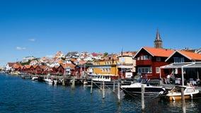 Sweden Bohuslan tourist village. Swedish touristic village Fjallbacka on the West coast of Sweden stock images