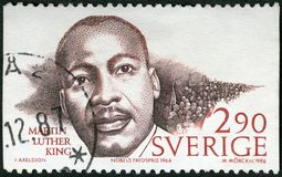 SWEDEN - CIRCA 1986: shows Martin Luther King Jr. 1929-1968, Nobel Peace Prize Laureates Royalty Free Stock Photo
