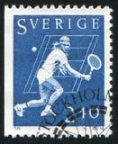 Bjorn Borg. SWEDEN - CIRCA 1981: stamp printed by Sweden, shows Bjorn Borg, Tennis Player, circa 1981 Royalty Free Stock Photos