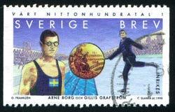 Gillis Grafstrom. SWEDEN - CIRCA 1998: stamp printed by Sweden, shows Arne Borg, swimmer, Gillis Grafstrom, figure skater, circa 1998 Stock Image