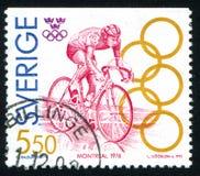 Bernt Johansson. SWEDEN - CIRCA 1992: stamp printed by Sweden, shows Bernt Johansson, cycling, circa 1992 Royalty Free Stock Photo