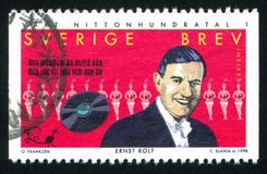 Ernst Rolf. SWEDEN - CIRCA 1998: stamp printed by Sweden, shows Ernst Rolf, entertainer, circa 1998 Stock Photography