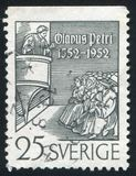 Olaus Petri Preaching. SWEDEN - CIRCA 1952: stamp printed by Sweden, shows Olaus Petri Preaching, circa 1952 Stock Photography