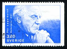 Par Lagerkvist. SWEDEN - CIRCA 1990: stamp printed by Sweden, shows Par Lagerkvist, circa 1990 Royalty Free Stock Photography