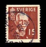 King Gustav V, King of Sweden. SWEDEN - CIRCA 1938: stamp printed in Sweden, shows portrait of King Gustav V, King of Sweden, Oscar Gustaf Adolf 16 June 1858 royalty free stock images