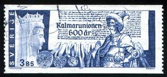Queen Margareta. SWEDEN - CIRCA 1997: stamp printed by Sweden, shows Queen Margareta, Erik of Pomerania, coronation document, circa 1997 Stock Image