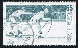 Relay race. SWEDEN - CIRCA 1974: stamp printed by Sweden, shows Relay race, circa 1974 royalty free stock image