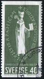 Archbishop Stephen. SWEDEN - CIRCA 1964: stamp printed by Sweden, shows Seal of Archbishop Stephen, circa 1964 Royalty Free Stock Image