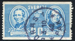 Torsten Rudenschold and Nils Mansson. SWEDEN - CIRCA 1942: stamp printed by Sweden, shows Torsten Rudenschold and Nils Mansson, circa 1942 Stock Image