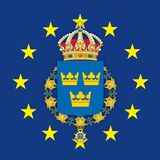 Sweden coat of arms on the European Union flag royalty free stock photo