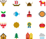 SWEDEN colored flat icons Stock Photo