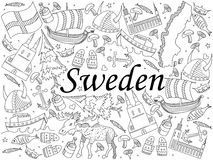 Sweden coloring book vector illustration. Vector line art Doodle set of cartoon characters and objects on Sweden. Coloring Book Royalty Free Stock Photos
