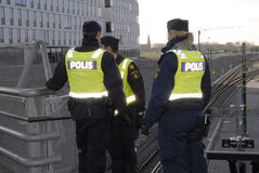 SWEDEN CONFIRM BORDER CONTROL TODAY AT NOO. Malmoe/Malmo/Malam�/Sveriige/Sweden_ 12November 2015_Swedish border control by police from today noon need royalty free stock photo
