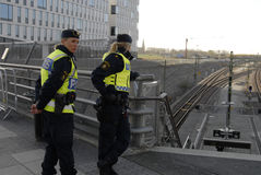 SWEDEN CONFIRM BORDER CONTROL TODAY AT NOO. Malmoe/Malmo/Malam�/Sveriige/Sweden_ 12November 2015_Swedish border control by police from today noon need royalty free stock images