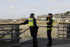 SWEDEN CONFIRM BORDER CONTROL TODAY AT NOO. Malmoe/Malmo/Malam�/Sveriige/Sweden_ 12November 2015_Swedish border control by police from today noon need royalty free stock image