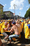 Sweden corner in fan zone Kyiv Stock Images