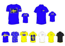Sweden country flag Tee and Polo design in new concept of web extension Stock Photography