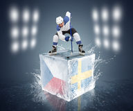 Sweden - Czech Republic  tournament game. Ready for Face-off player on the ice cube. Royalty Free Stock Photo