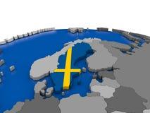 Sweden on 3D globe Stock Photo