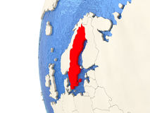 Sweden on 3D globe Royalty Free Stock Photography