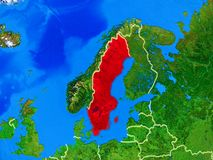 Sweden on Earth with borders. Sweden from space on model of planet Earth with country borders and very detailed planet surface. 3D illustration. Elements of this royalty free stock images