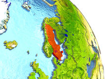 Sweden on Earth in red Stock Image