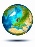 Sweden on Earth with white background. Sweden in red on model of planet Earth hovering in space. 3D illustration isolated on white background. Elements of this stock image