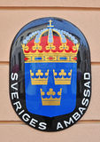 Sweden embassy sign Stock Photography