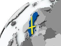 Flag of Sweden on grey globe. Sweden with embedded flag on globe. 3D illustration Stock Image