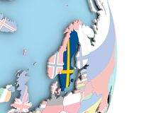 Sweden with flag on globe. Sweden with embedded flag on globe. 3D illustration Royalty Free Stock Photo