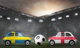 Sweden and England cars on football stadium Stock Photo
