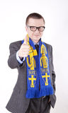 Sweden fan. Young man wearing a scarf of Sweden Stock Images