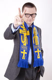 Sweden fan. Young man wearing a scarf of Sweden and showing victory sign Stock Photos