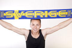 Sweden fan. Young man Sweden fan Royalty Free Stock Images