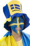 Sweden Fan. Swedish girls with patriotic face paint as a sports fan Stock Images
