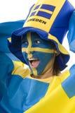 Sweden Fan. Swedish girls with patriotic face paint as a sports fan Stock Photo