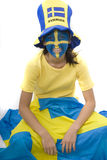 Sweden Fan. Swedish girls with patriotic face paint as a sports fan Royalty Free Stock Photos