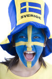 Sweden Fan. Swedish girls with patriotic face paint as a sports fan Stock Image