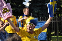 Sweden fan rooting for their team Royalty Free Stock Photo