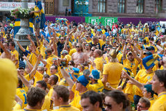Sweden fans in Euro 2012 Royalty Free Stock Photo