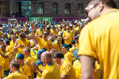 Sweden fans in Euro 2012 Royalty Free Stock Photography