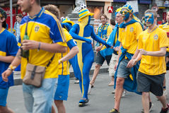 Sweden fans in Euro 2012 Royalty Free Stock Photos