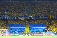 Sweden fans at NSC Olympic stadium Royalty Free Stock Photo